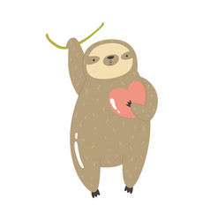 Funny sloth hanging on a tree with heart in the vector