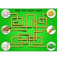 Game labyrinth find a way animals to food vector image