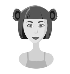 Girl with hairstyle icon gray monochrome style vector image