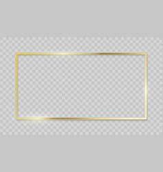 Gold frame realistic golden border on transparent vector
