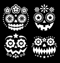 halloween and dia de los muertos skulls vector image