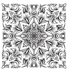Hand drawing tile vintage black line pattern vector