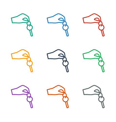 Hand with key icon white background vector