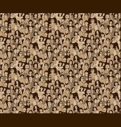 Happy adult crowd people beige seamless pattern vector