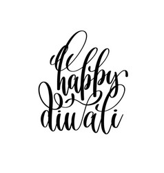 happy diwali black calligraphy hand lettering text vector image