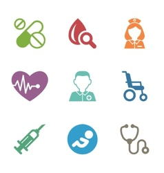 Health care medical items Flat style icons vector image