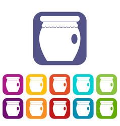 Honey bank icons set flat vector