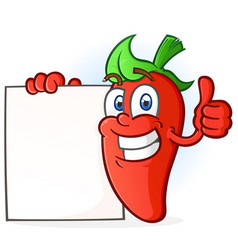 Hot pepper cartoon character holding a blank sign vector