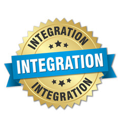 Integration round isolated gold badge vector