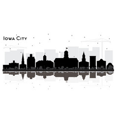 Iowa city skyline silhouette with black buildings vector