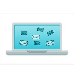 Laptop with Email Icons on Screen vector image