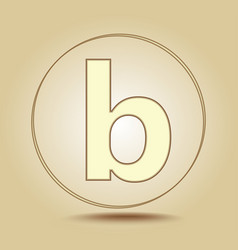 letter b lowercase round golden icon on light vector image
