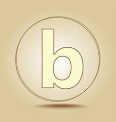 Letter b lowercase round golden icon on light vector