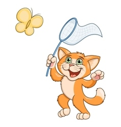 Little cat is catching butterfly vector