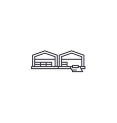 Logistics warehouse line icon sign vector