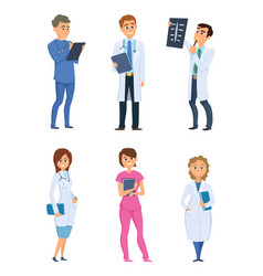 Medic nurses and doctors healthcare characters in vector