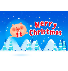 merry fat pig with a gift boxes vector image