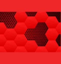 Metal dark background with red steel hexagons vector