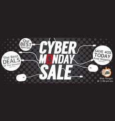 Modern black polka dot cyber monday banner vector