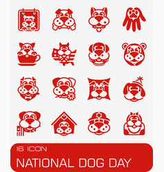 National dog day icon set vector