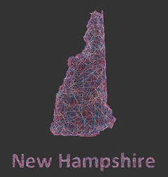 New Hampshire line art map vector image