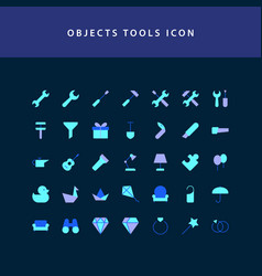 Object tool flat style design icon set vector