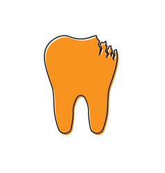 Orange broken tooth icon isolated on white vector