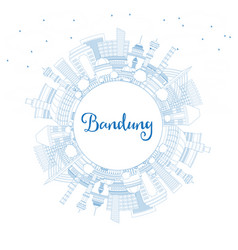 Outline bandung indonesia city skyline with blue vector