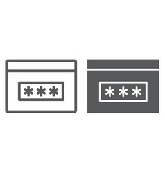 Password line and glyph icon security and access vector