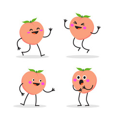 Peach character peach on white background vector