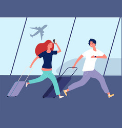 People in airport young couple run to airplane vector