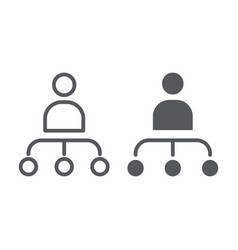person and chart line and glyph icon worker and vector image