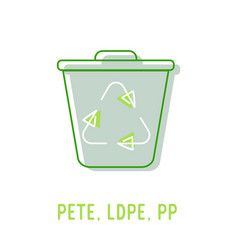 plastic recycling codes pete ldpe and pp icon vector image