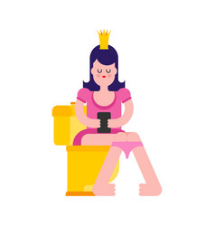 princess on toilet woman is in wc sweet girl with vector image