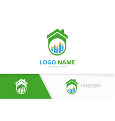 real estate and graph logo combination home vector image