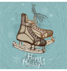Retro ice skates vector