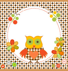round frame with cartoon owl in patchwork style vector image