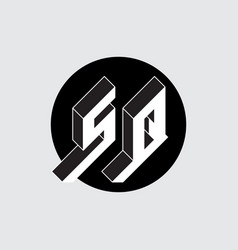 S and q - monogram or logotype isometric 3d font vector