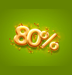 Sale 80 off ballon number on green background vector