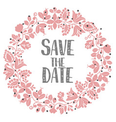 save the date with pastel wreath vector image