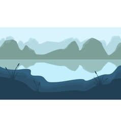 Scenery mountain and lake of silhouette vector