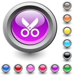 Scissors round button vector image
