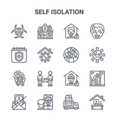 Set 16 self isolation concept line icons 64x64 vector