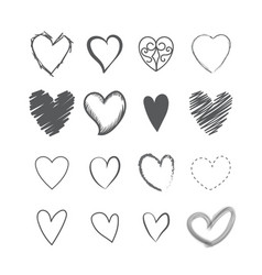 set heart shape hands drawn icons vector image