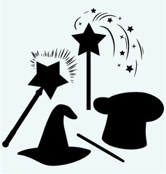 Set magic hat with magic wand sparkles vector