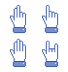 Set of blue Pixel Hand icons vector image