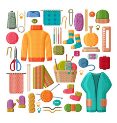 Set woolen knitted clothes and knitting tools vector