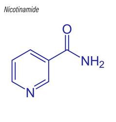 Skeletal formula nicotinamide drug chemical vector