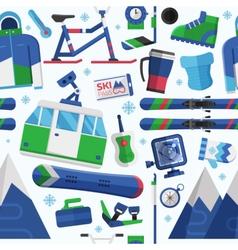 Ski Resort Seamless Pattern vector image
