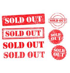 sold out grunge ink stamp set vector image